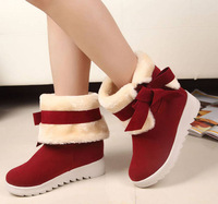 2014 New Fashion Wedge Winter Boots for Womens Two Fashion Wearing Style Mid-calf Drop Shipping 35-39 Warm Folding Velvet Shoes