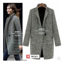 Dropshipping!2014 EUROPE Autumn Women overcoat OL vocational slim  Houndstooth suit  Jacket Coat