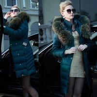 D4013 High-end Luxury Raccoon Fur Wintering Thick Parkas  Women White Duck Down Overcoat Plus Big Large Size Zipper Hooded Belt