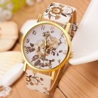Women Watch 2014 New Fashion Trendy Colorful Flower Quartz Watch Ladies Geneva Watch Popular Style Women Casual Watch Wristwatch