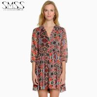 SMSS fashion V-neck single breasted loose shirt slim waist fifth sleeve pleated one-piece dress