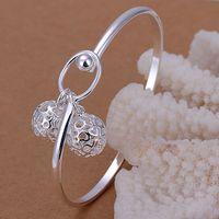 B174 925 sterling silver bangle bracelet, 925 silver fashion jewelry Dual ball bangle /apiajgpa axhajooa