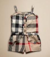 2015 new brand European and American children summer cotton overalls suspenders piece pants girls shorts Girls Plaid Princess
