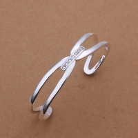 Free Shipping Fashion 925 Silver plated Fashion Bangle Bracelet for Women Jewelry Factory Price SMTB182