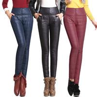 S-4XL High Waist Pants Winter Warm Plus Silk Thick Women Pant Slim Skinny Girls All-match ElasticTrouser Boot Cut Red Blue Black