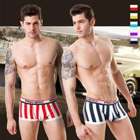 Hot Sale Underwear Men Boxer Shorts Cotton  U Convex  Low Waist  Boxer Trunks 5Colors -Free Shipping