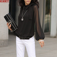 Selling Tide Autumn 2014 Plus Size New Long Sleeve T shirt Women Turtleneck Chiffon Shirt Female Fashion Bow T shirt Woman NZ560