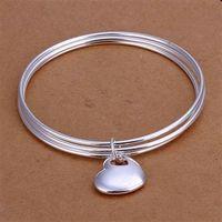 B175 925 sterling silver bangle bracelet, 925 silver fashion jewelry Triple Circle heart bangle /apjajgqa axiajopa