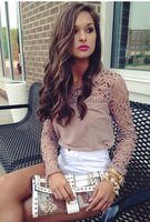 New fashion 2014 Autumn Women khaki hollow out lace Blouses Casual Shirts Chiffon Blouses Tops S M L XL free shipping