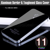 Tempered Glass Back Cover For MEIZU MX4 MX 4 Luxury Mobile Phone Bag Cases with Aluminum Frame/Border,free screen film