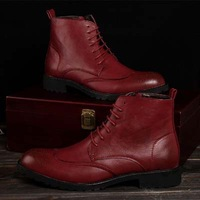 Hot Fashion Retro Spring/Autumn Men Genuine Leather Boots Ankle Hidden Increased Heel Martin Boot 4 Colors 1 Pair Free Shipping