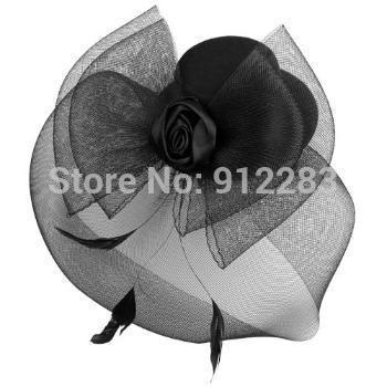 Free Shipping 10 pcs Black Mini Top Hat Fascinator Feather Birdcage Veil New #50567(China (Mainland))