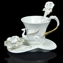 Porcelain Gold Peony And Bird Coffee Set Tea Set 1Cup 1Saucer 1Spoon Gift
