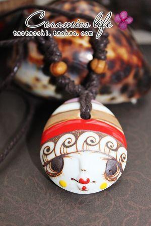 amoy cerâmica decorados com original| colar designer boneca cabeça amantes parágrafo camisola longa cadeia cerâmica jóias/accesso(China (Mainland))