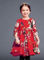 Top Quality brand design European autumn winter children clothing girls Half Sleeve dress flowers fashion princess 3-12T Floral