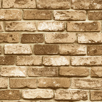 56 Square Feet /10M Roll Modern Style Real Look Realistic 3D Stacked Stone Brick Brown Background Vinyl Wallpaper