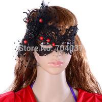(30 pcs/lot) Festive & Party Supplies 2014 new arrival Hot sale Handmade Half-face Black Lace Sexy Women Dance Masks