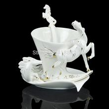 Porcelain Gold White horse Coffee Set Tea Set 1Cup 1Saucer 1Spoon