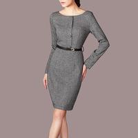 high quality women o-neck full sleeve autumn wool bodycon slim vintage dresses business dress black ,gray color C200