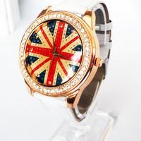 4 colors Popular Waches Women/girl  Leather wrist watch UK national flag pattern fashion  watch