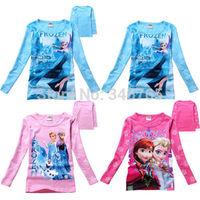 2014 Girls Frozen Elsa & Anna Olaf Snowman Kids Top Blouse T-Shirts Clothes 3-8Y Shirts