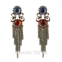 Brincos Bijuterias Rhinestone Blue Color Alloy Tessel Geometric  Earrings Fashion New 2014 Designer Famous Brand Earrings