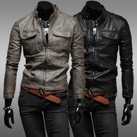 2014 new elegant fashion double pocket short paragraph Slim washed leather men casual motorcycle leather collar