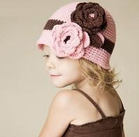 On Sale Baby Girl Flowers Winter Hat Crochet Beanies Children Knitted Flowers Skullies Cap Kids Warm Cap Hat Free Shipping