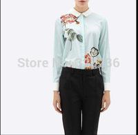 Free shipping  2014 Hot Sale  Girls'  Long Sleeve Elegant Lotus Pattern Casual  Shirts  ladies Womens  blouse