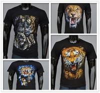 4Kinds cool 3D Tiger pattern t-shirt men printing cotton short-sleeved t-shirt streetwear 3D tiger printed men & women t shirts