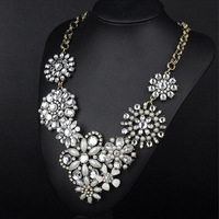 New Arrival Luxury  Pendants Charm Chain Crystal Flower Choker Chunky Statement Bib Necklace Jewelry Collar Free Shipping