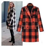 New arrival fashion plaid overcoat S-XXL wool coat women's coats 2014 wool coat women factory wholesale cheap free shipping