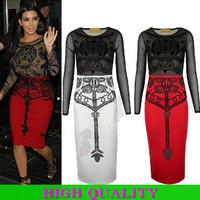 New 2015 Autumn&Winter Dress Women Clothing Ladies Bandage Dress Women Sexy Dress Knee-Length Bodycon Party Dresses Plus Size