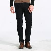 brand higth quality 2014 the new antumn men's black soild slim waist straight leg formal pants