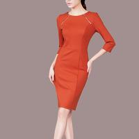 autumn women fashion vintage O-neck zipper decorated brief business party bodycon dresses ,pencil dress Q78
