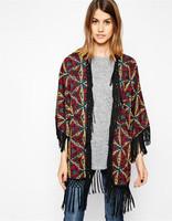 2014 autumn women's geometric kimono cardigan vintage printed kimonos for women desigual ladies fashion tassel blusas femininas