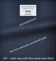 Wedding suit Groom men worsted wool business suit Men dark navy stripe suit (jacket+pant+vest )