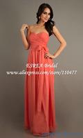 Hot Sale Pleat Chiffon Orange Long Bridesmaid Dresses 2014 Gowns HM638