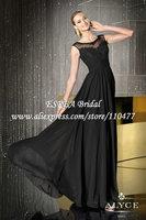O Neck Modest Cap Sleeve Long Little Black Lace Evening Dress Gown 2015 HM698 Vestidos de Fiesta