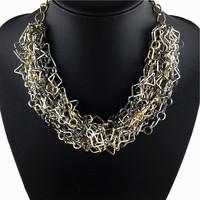 2014 New Za design women fashion hand make metal chunky chain necklace & pendant chunky choker bib Necklace Women jewelry
