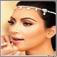 2014 Fashion Czech Rhinestone Crystal Forehead Bridal Hair Accessories Floral Waterdrop Hair Combs Wedding Bridal Hair Jewelry