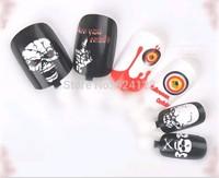 12 pcs Pre-design Acrylic Nail Tips False French Full Nails with Glue piece per set
