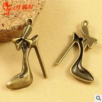 A3563  100pcs/lot size 27*19mm colour bronze High heels Antique diy pendant Jewelry findings  nickel free zakka