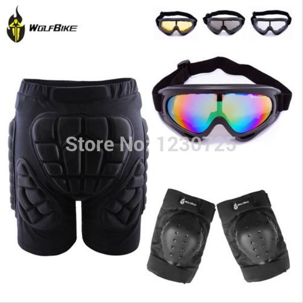Outdoor Skiing Skate Snowboard Skating Hip Protective Shorts+ Knee Pads+X400 UV Protection Goggle Glasses Eyewear(China (Mainland))