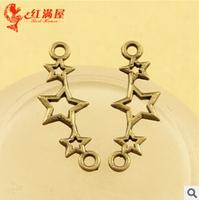 A3558  100pcs/lot size 25*9mm colour bronze star link  Antique diy pendant Jewelry findings  nickel free zakka