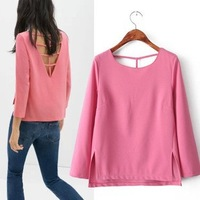 2014 New arrival Ladies' elegant sexy backs hollow out blouses vintage three-quarter sleeve shirt casual slim brand tops