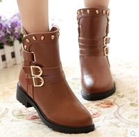 New fashion women's boots PU leather buckle rivet flat heel women boots Lady Short martin boots motorcycle boots casual shoes