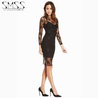 SMSS fashion sexy lace spaghetti strap slim long-sleeve  racerback tight-fitting slim hip dress