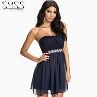 SMSS sweet princess handmade tube top fashion lace chiffon one-piece  cocktail formal dress