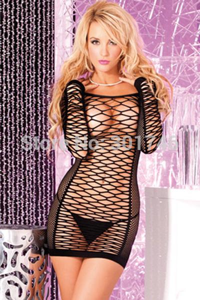Alluring Long Sleeve Fishnet Seamless Black Mini Dress T21213(China (Mainland))